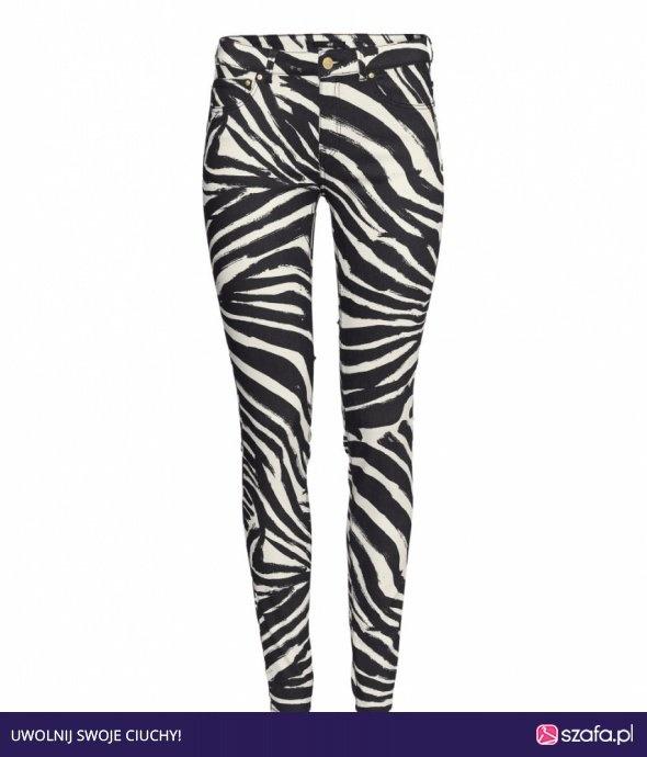 spodnie rurki zebra h&m zip złoty 40 L