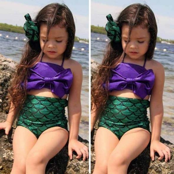 Nowy strój kąpielowy bikini dziewczynka 3 4 lata syrenka łuski zielony arielka ariel