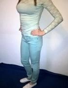 Miętowa bluzka z koronką H&M