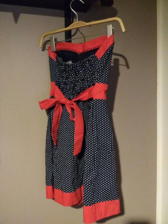 Sukienka pin up granatowa czerwona kokarda groszki