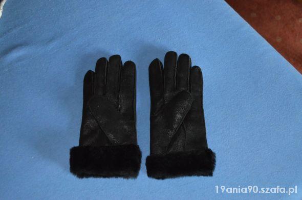 Czarne zamszowe rękawiczki nowe