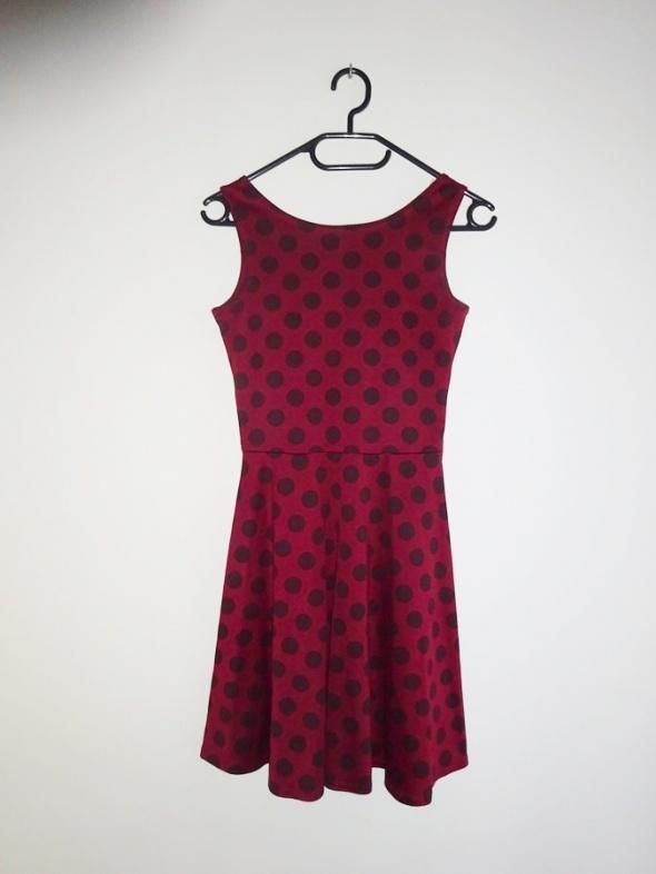 Atmosphere bordowa sukienka w kropki grochy 34 XS