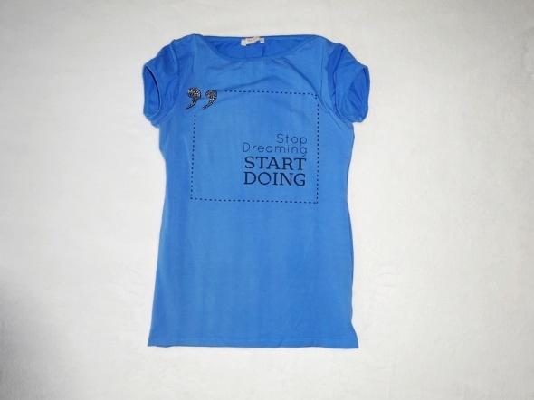 nowa niebieska bluzka t shirt nadruk z nadrukiem 34 XS 36 S