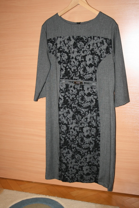 eleganca szara sukienka