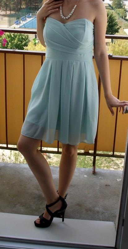 Miętowa zwiewna sukienka M 38 wesele