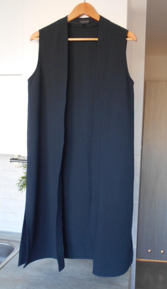 Topshop nowy płaszcz bez rękawów granatowa długa kamizelka