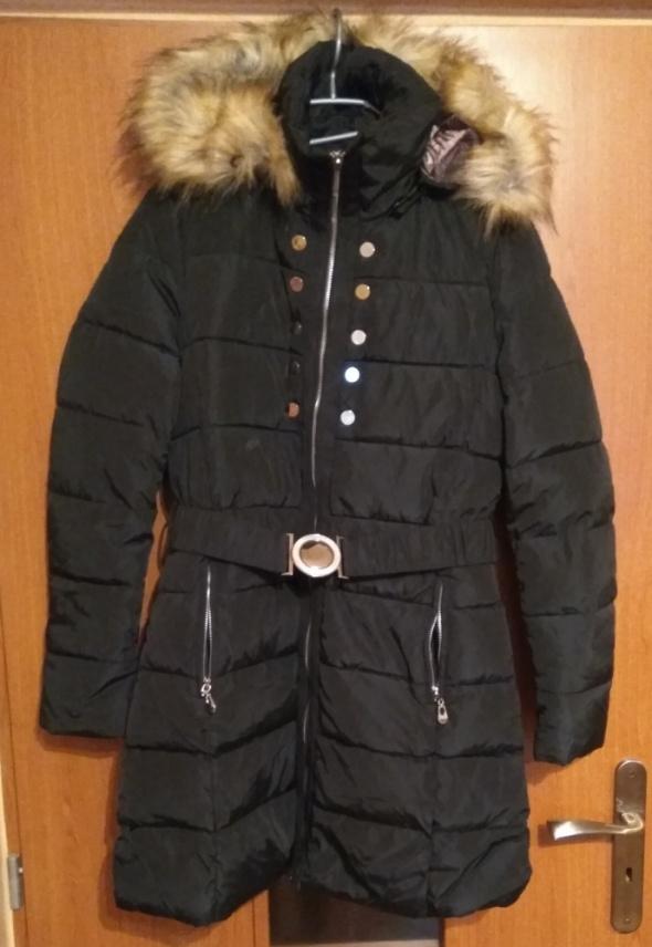 Nowa czarna długa zimowa kurtka bardzo ciepła S 36