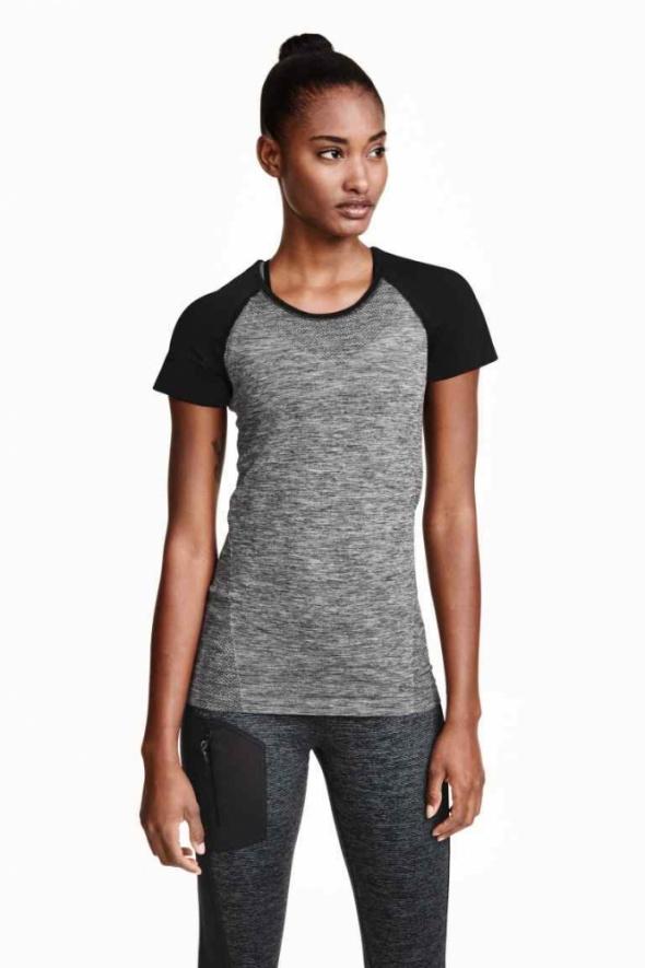 t shirt bluzka h&m sport xs 34 czarna siwa szara