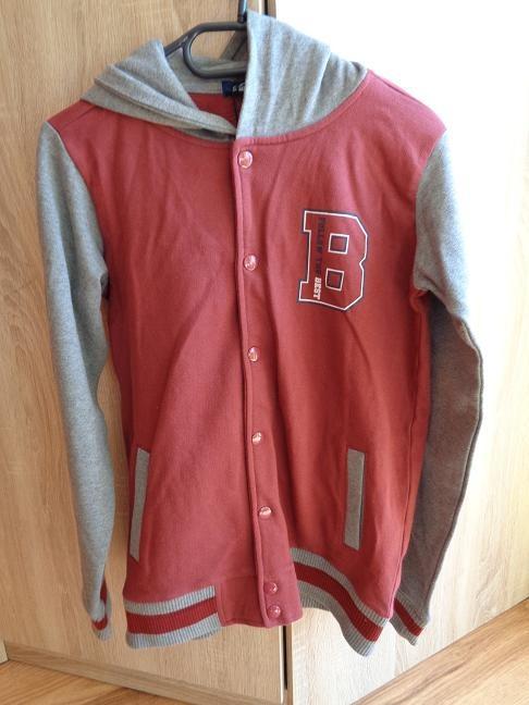 Młodzieżowa bluza chłopięca bordowoszara roz152
