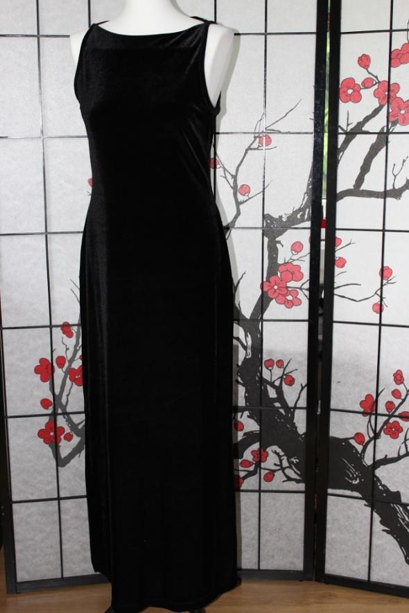 długa suknia sukienka czarna aksamit elegancka max...