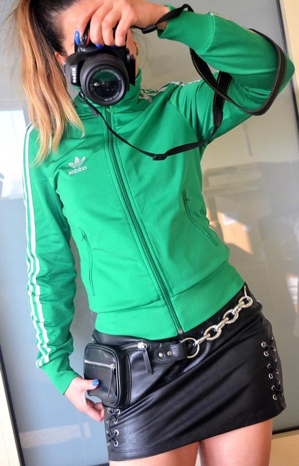 Adidas Firebird bluza zielona srebrna znaczek 36