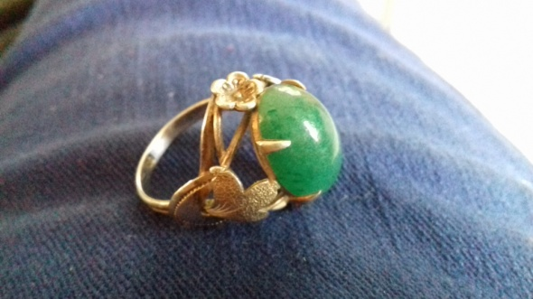 Duży pierścionek SREBRO stary PRL kamień chryzopraz