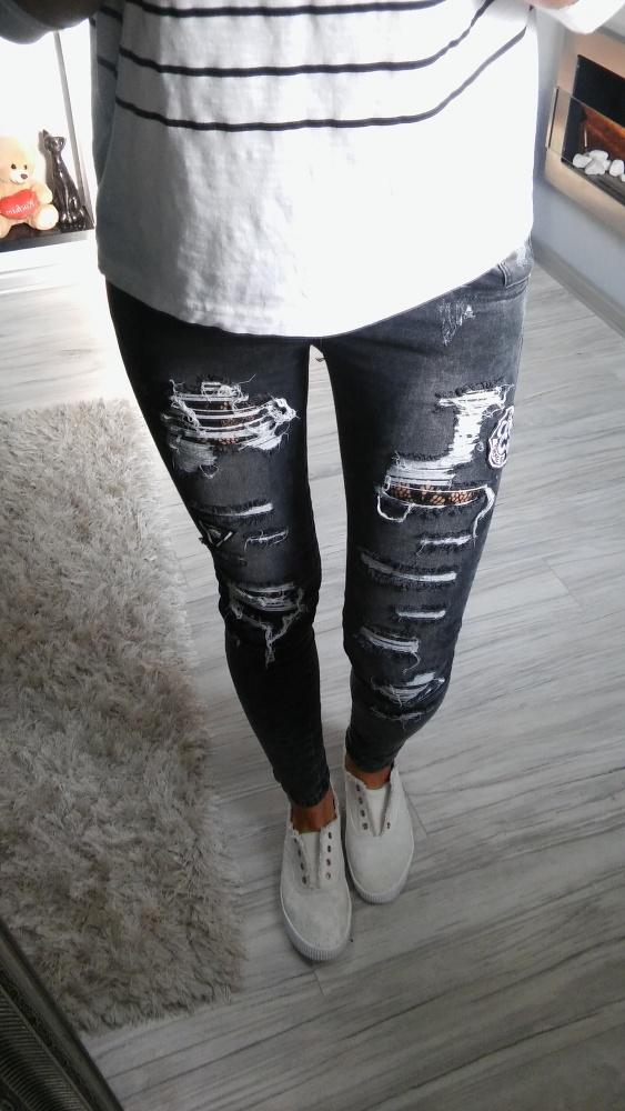 Mega jeansy szare przetarcia s nowe