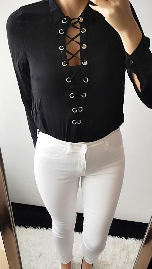 H&M Koszula damska z wiązaniem czarna S 36