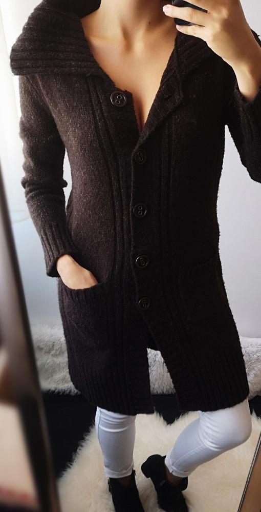 Sweter damski kardigan brąz L XL