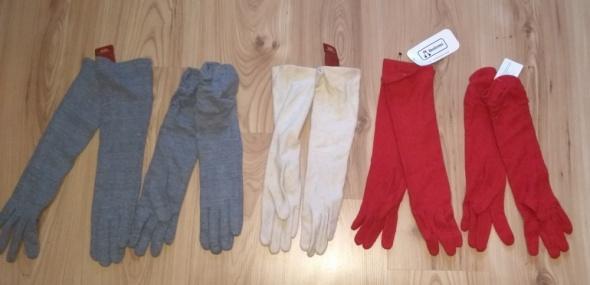 Nowe długie rękawiczki szare czerwone beżowe różne rozmiary wełna