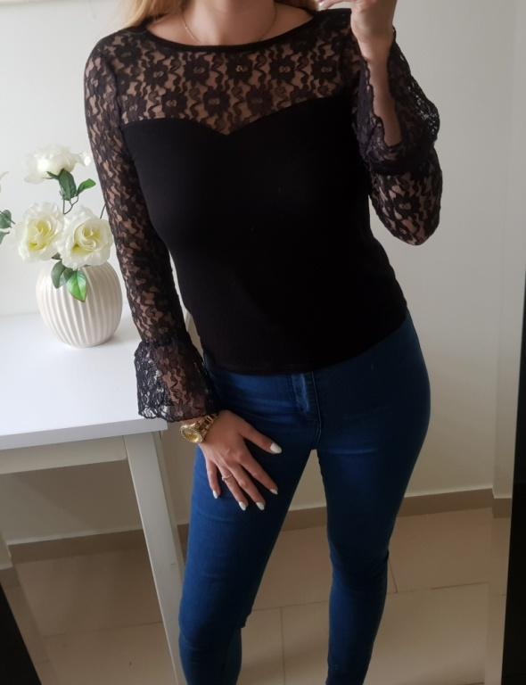 Bluzka elegancka koronka poszerzane rękawy czarna S M