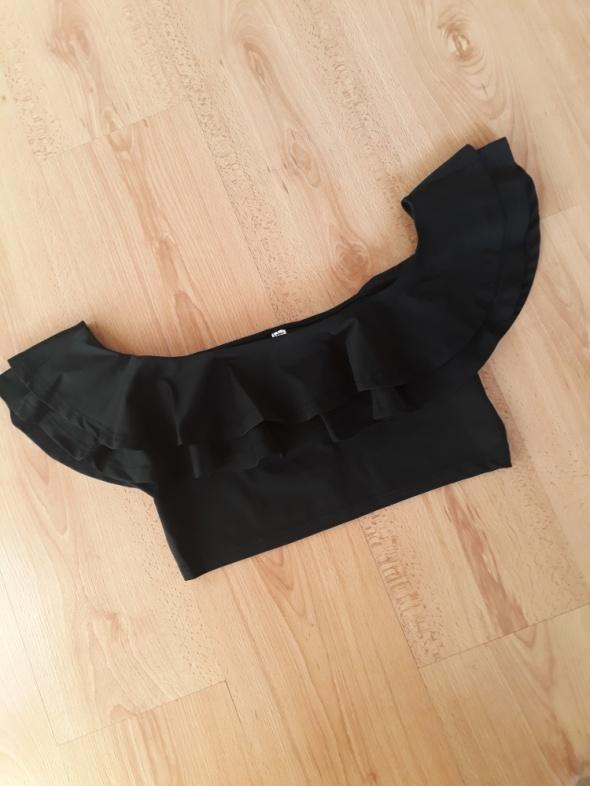 Czarny top hiszpanka z falbankami crop top odkryte ramiona bluzka
