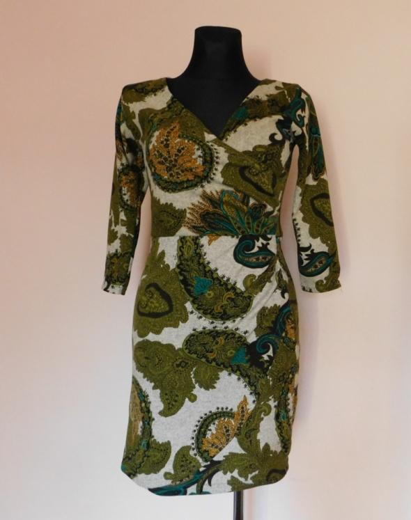 Sukienka zielona dzianina 36 38