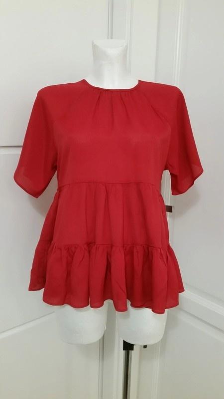 Czerwona bluzka falbanki Asos