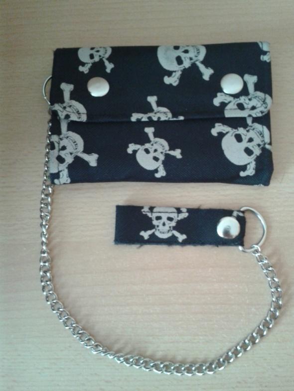 Czarny portfel czaszki emo punk rock łańcuch dużo kieszonek nowy