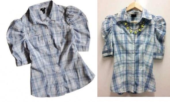 H&M prześliczna koszulowa bluzka bufki 34 kratka