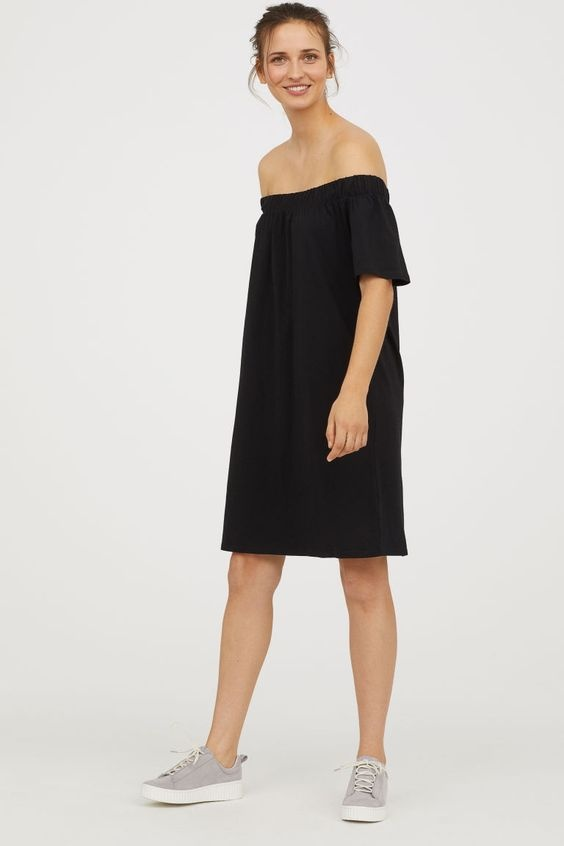 Sukienka H&M odkryte ramiona czarna