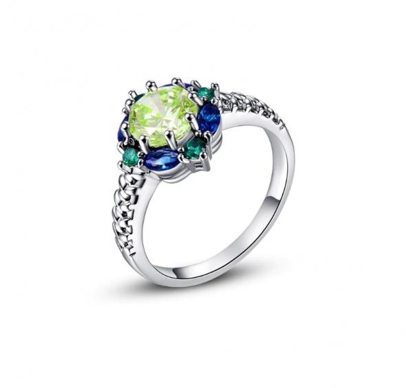 Nowy pierścionek srebrny kolor posrebrzany zielone niebieskie cyrkonie