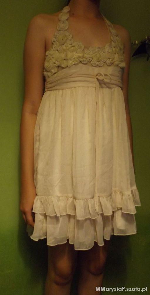 Nowa kremowa sukienka Rare L