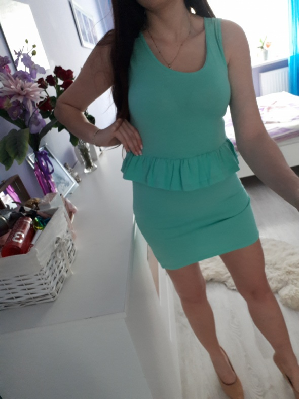 Miętowa sukienka S