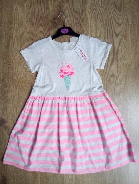 Sukienka biało różowa lody 122