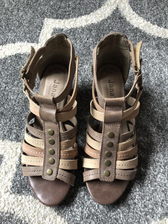 Sandałki Gladiatorki niski obcas skóra naturalna GEOX 39