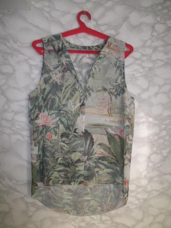 Koszula bluzka asymetryczna w tropikalny wzór roślinny dżungla 36 38
