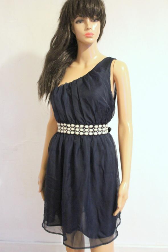 Granatowa sukienka na jedno ramię r L...