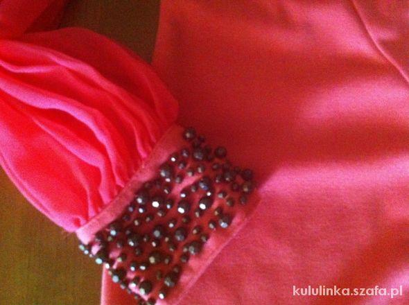 Asos łososiowa sukienka z szyfonowym rękawem...
