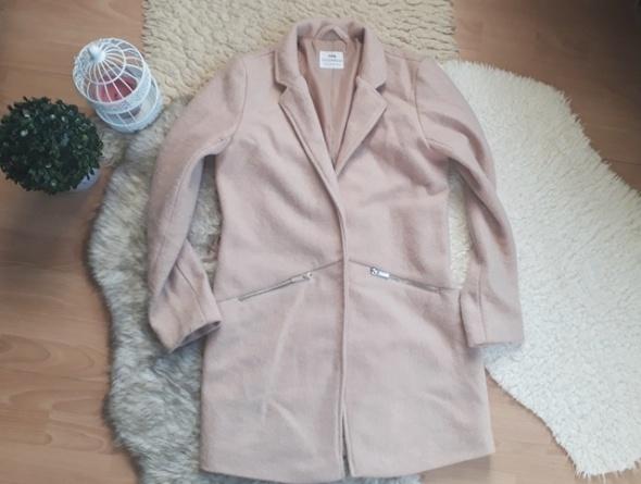 płaszcz beż boyfriend M 38 oversize