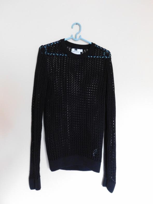 TOPMan czarny sweter ażurowy 36 38