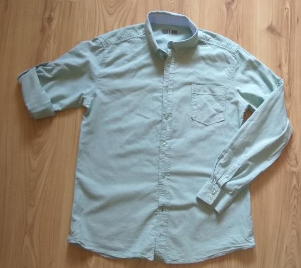 Miętowa koszula męska z długim rękawem L