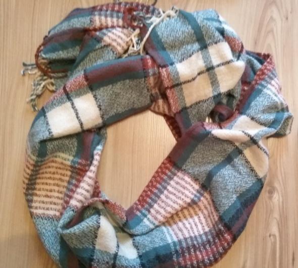Nowy szal szalik w kratkę niebiesko kremowo rudy duzy