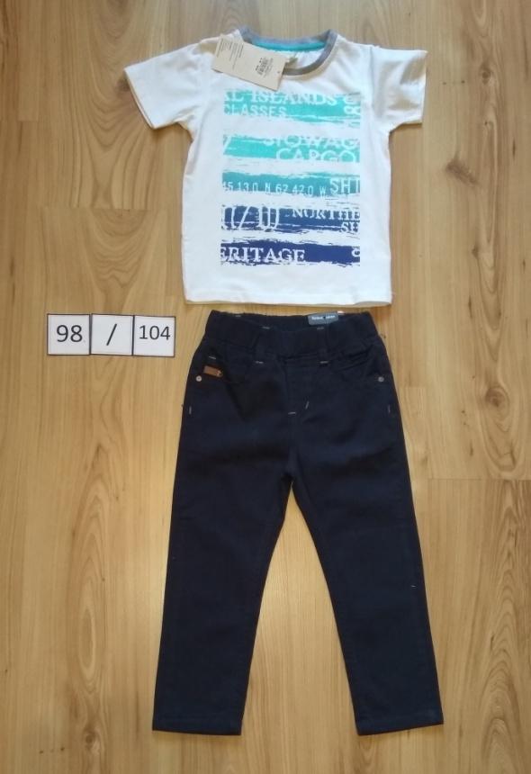 Nowy komplet biała bluzka i granatowe wyjściowe spodnie 98 104