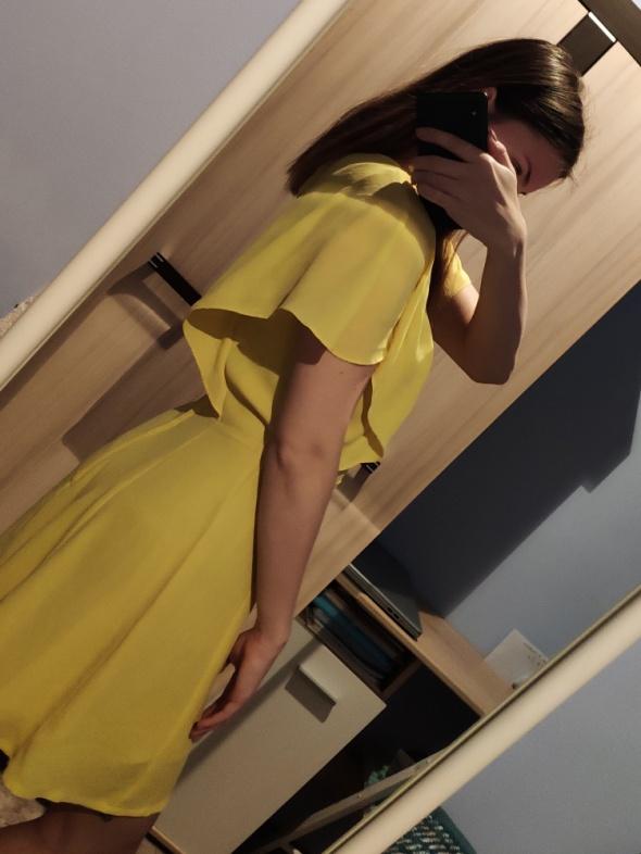 42a1879dbc Żółta kanarkowa sukienka HM falbanki w Suknie i sukienki - Szafa.pl