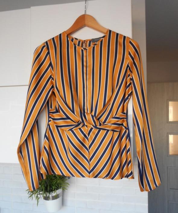 Primark satynowa bluzka paski musztardowa elegancka wiązana