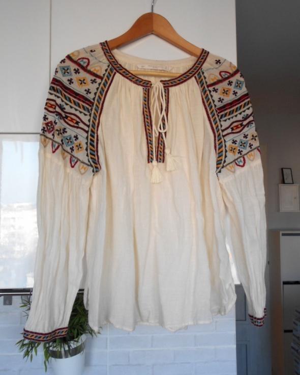 Zara nowa bluzka oversize hafty frędzle zdobiona hippie