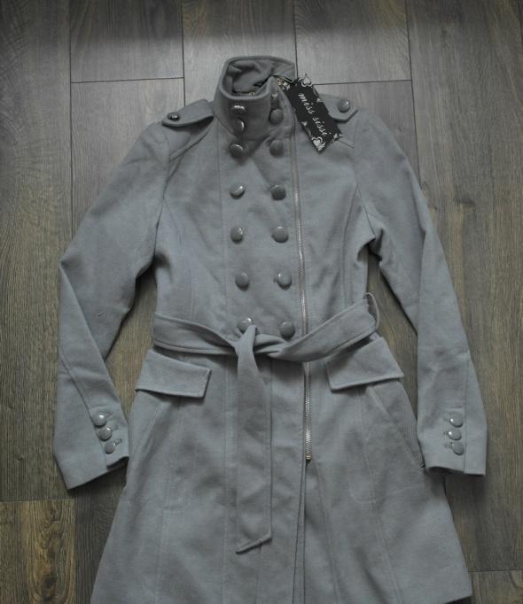 Nowy elegancki płaszcz szary na zamek 38