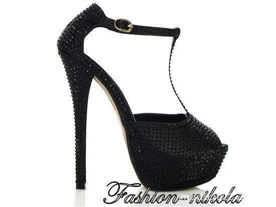 Czarne sandały cyrkonie 38