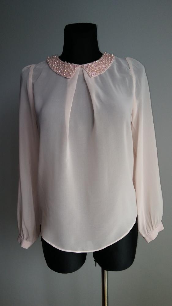 Bluzka perełki pudrowy róż
