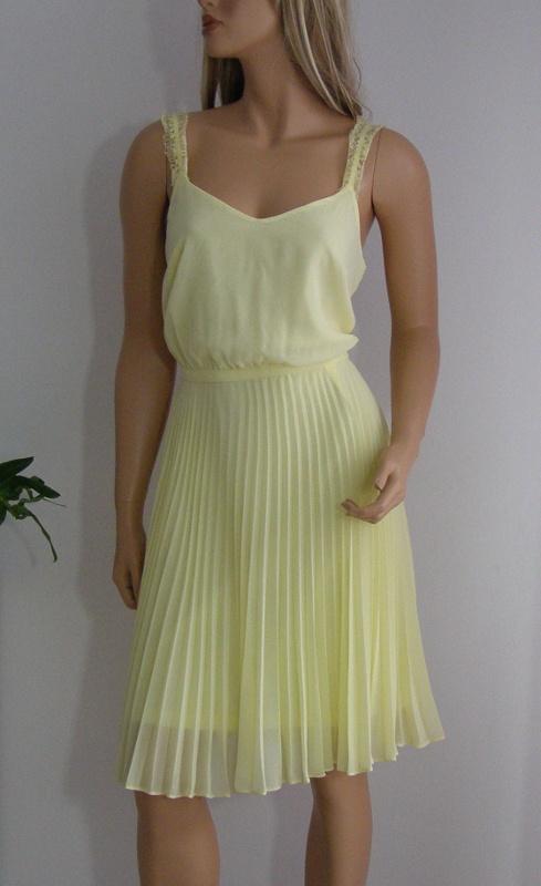 sukienka żółta 40 L plisowana podszewka nowa żółta Luxe
