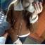 Bershka Brązowy kożuszek z futerkiem ecru XS S M...