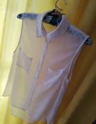 Biała bluzeczka tiulowa z kołnierzem...