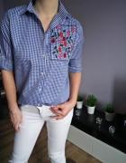 Nowa elegancka koszula w kratkę haft kwiaty niebieska must have...
